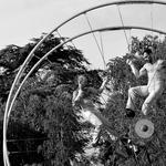 Stunts in big wheel...