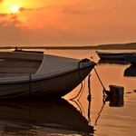 O pôr do sol na lagoa