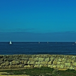 Ao fundo do horizonte os Barcos á Vela