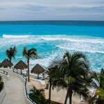 Cancún com seu mar azul..........