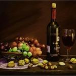 Ensaio com vinho e uvas