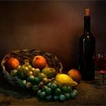 Composição com frutas e vinho