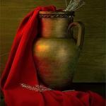 Composição com lenço vermelho