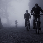 Riders on the misty Azores islands .