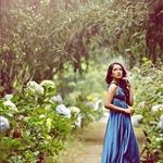 Blue garden in spring